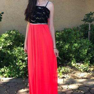 Black and Pink Long Summer Dress